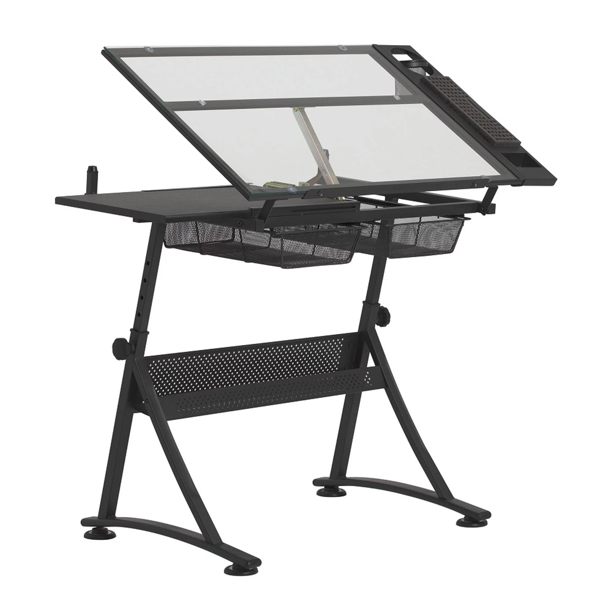 sd studio designs hobby lobby exclusive fusion craft center table stool and 24 storage tray in charcoal black clear glass