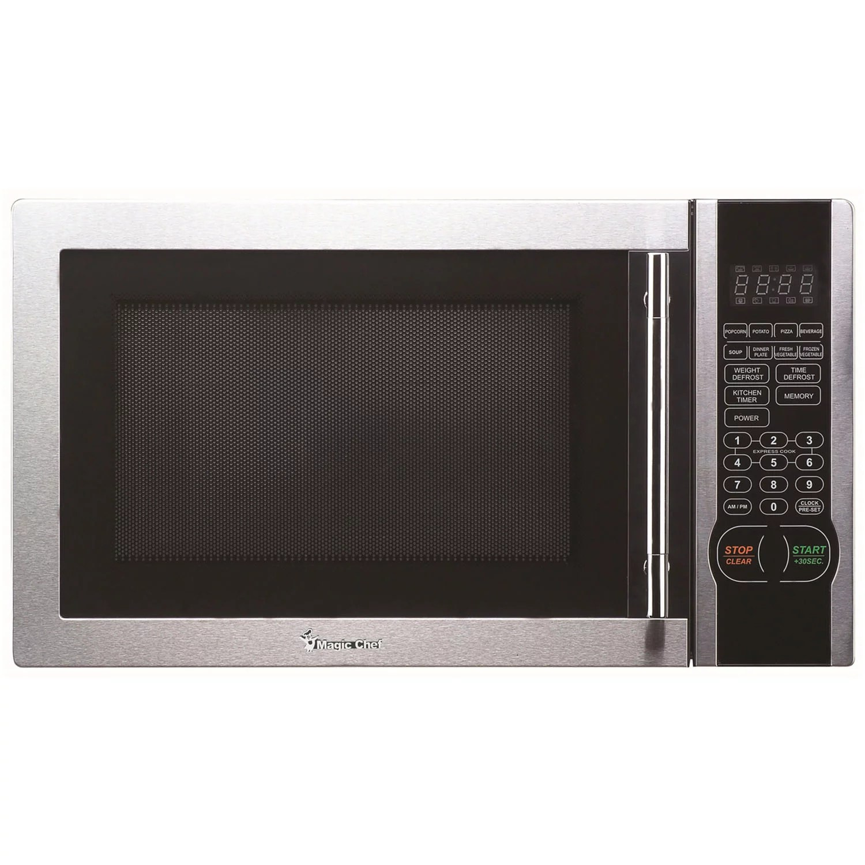 magic chef 1 1 cu ft 1000w countertop microwave oven with stylish door handle walmart com