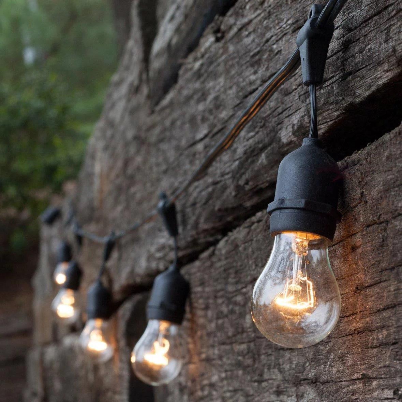 ktaxon s14 outdoor 48 foot globe string lights set of 24 sockets outdoor lighting heavy duty patio lights with 28 pcs clear s14 edison bulbs