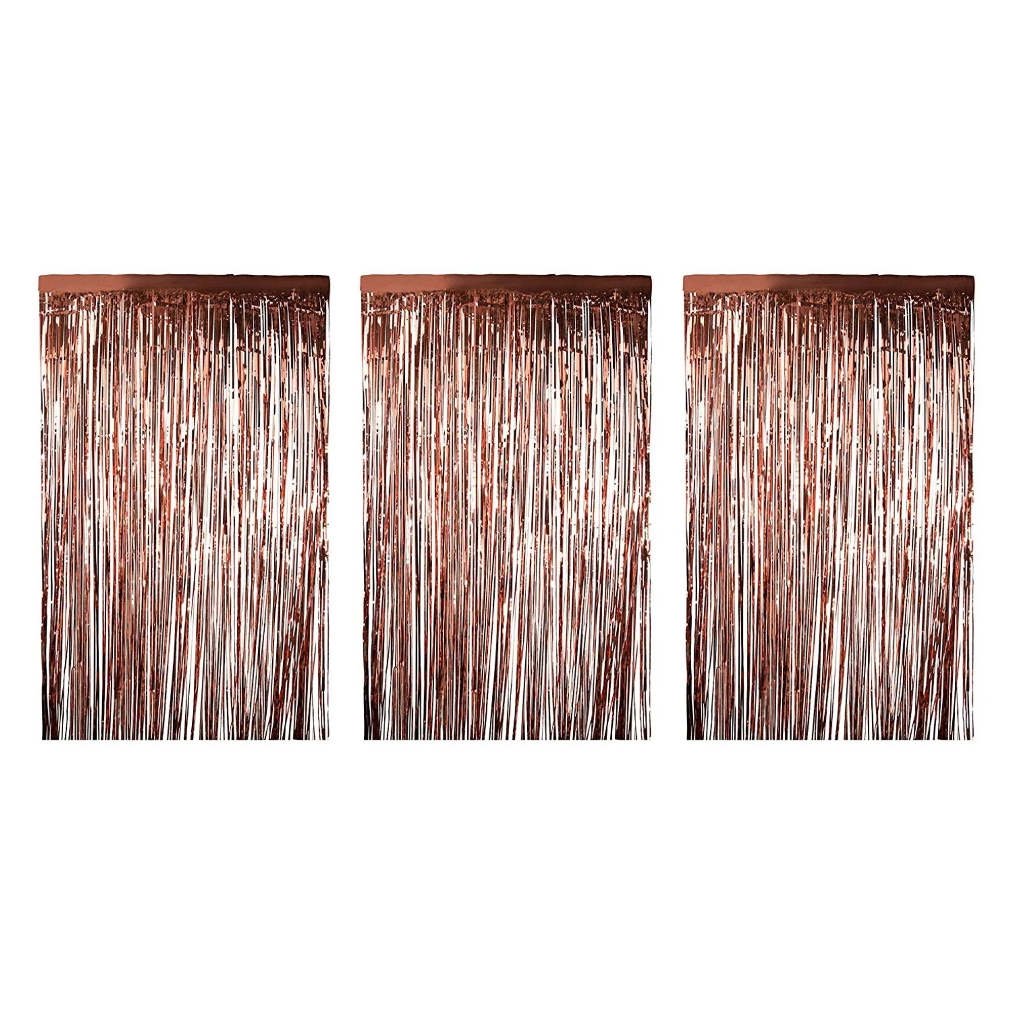 3 pack metallic foil fringe curtains 8 x 3 feet rose gold tinsel doorway curtain for wedding backdrop birthday party decorations photo booth