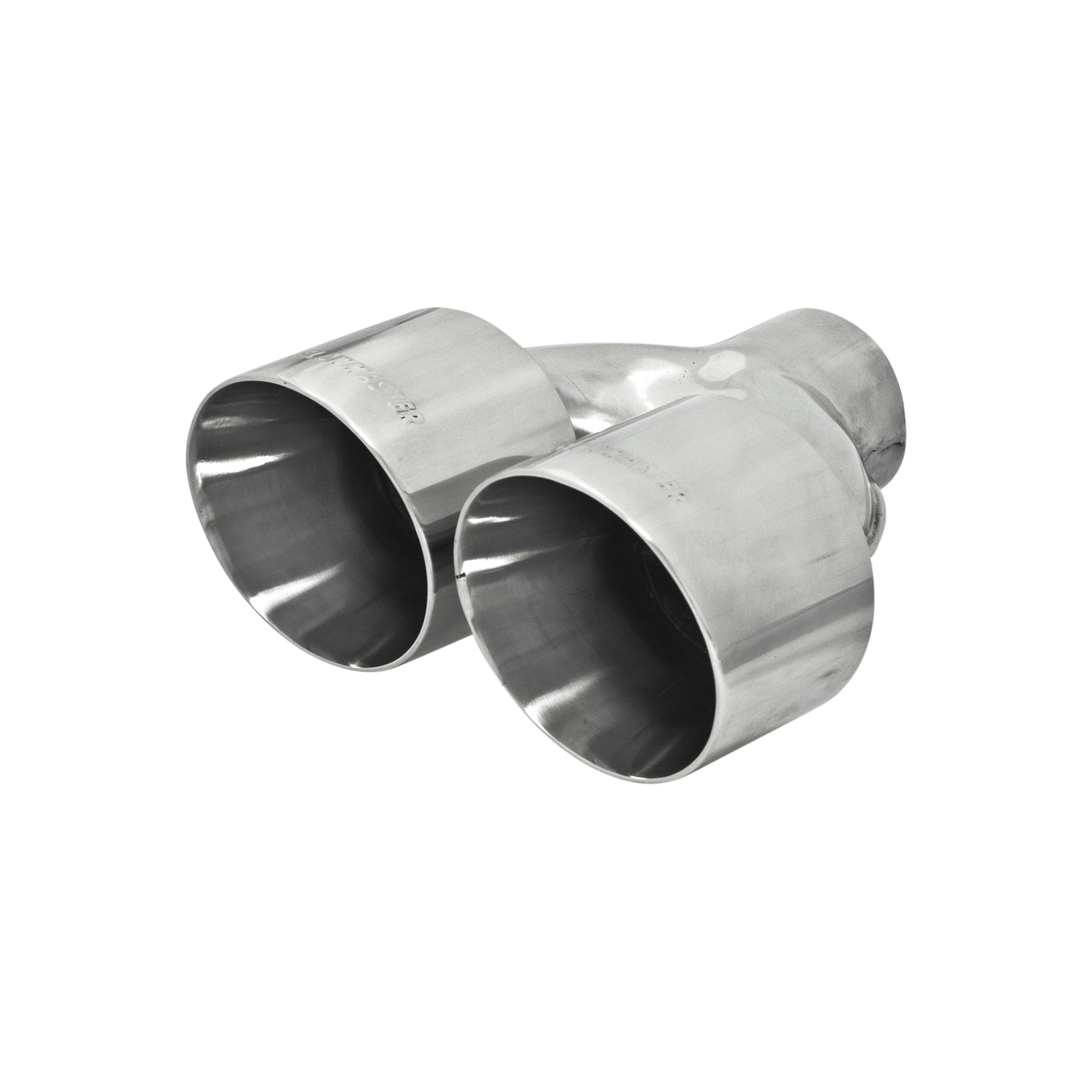 flowmaster 15391 exhaust tail pipe tip 2 1 2 inch inlet 4 inch dual outlet stainless steel round angled cut double wall edge 10 inch length