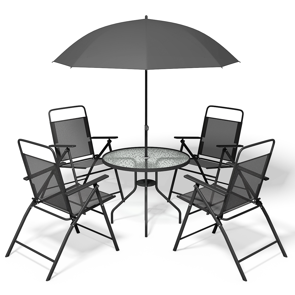 table 4 folding chairs gray