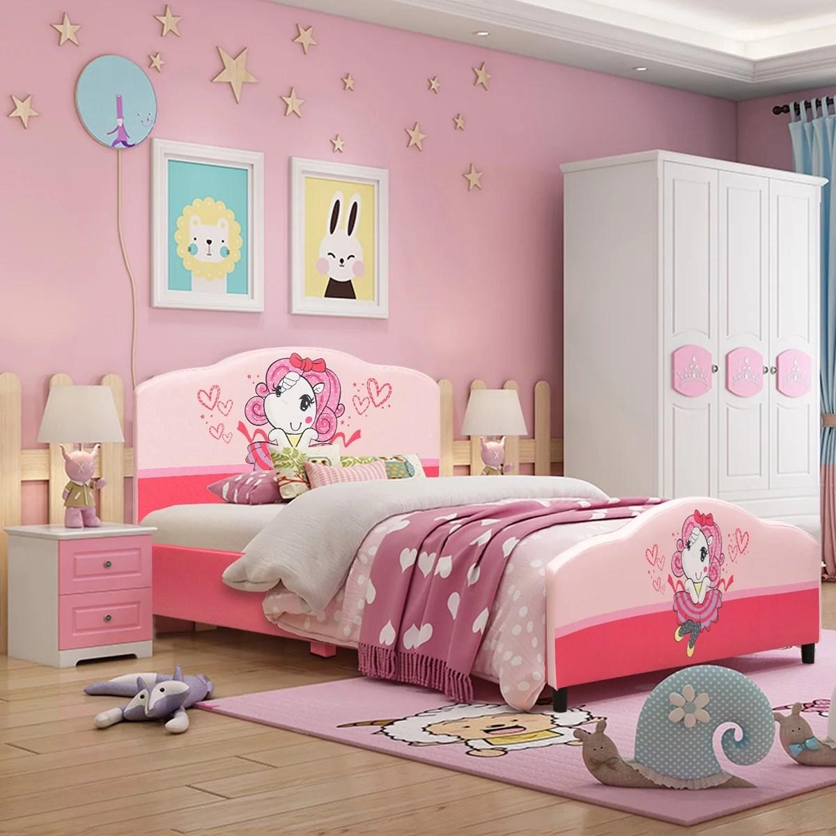 costway children upholstered platform toddler bed Cheap Childrens Bedroom Furniture Sets id=36111