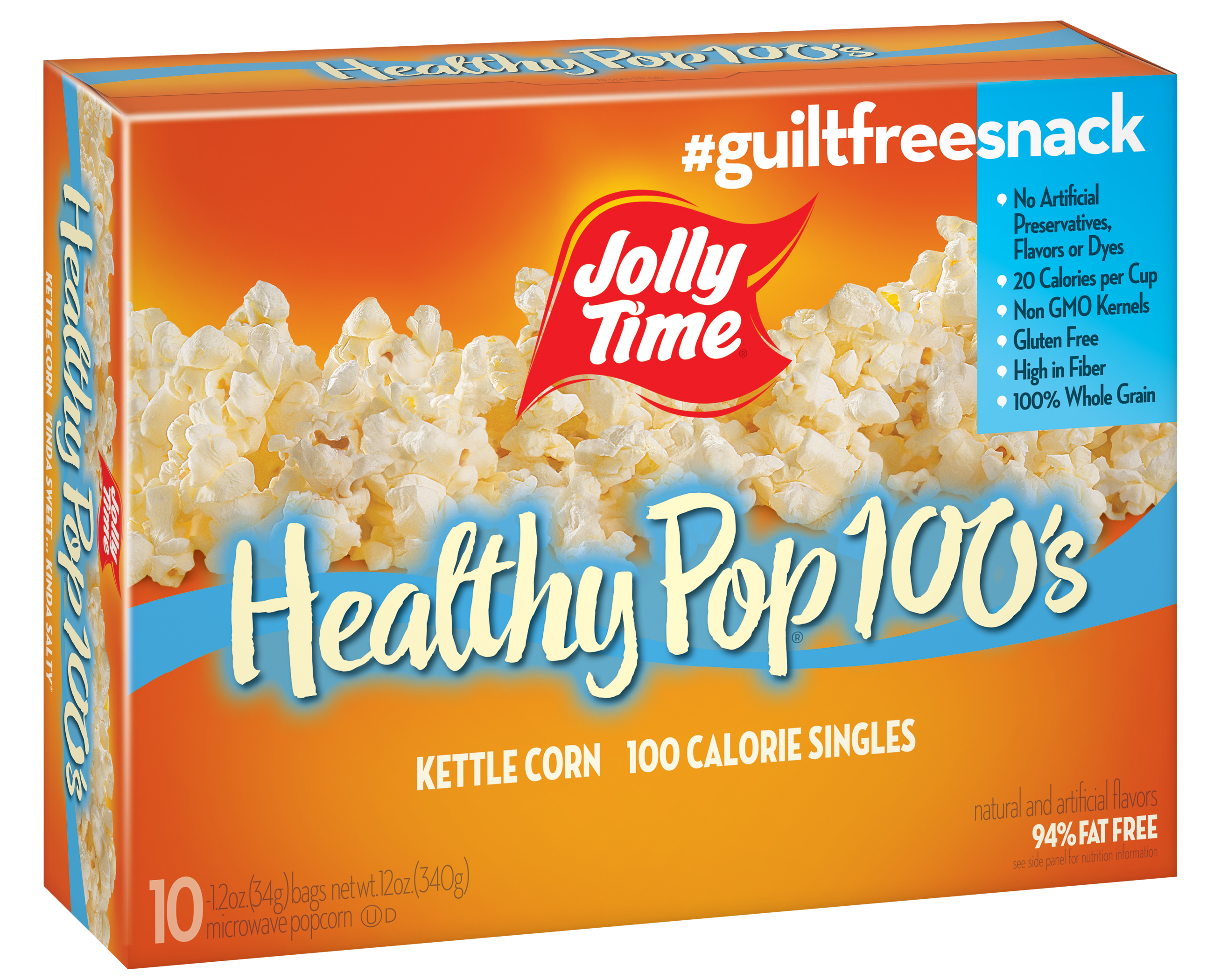 jolly time 100 calorie healthy pop kettle corn microwave popcorn 1 2 oz 10 ct