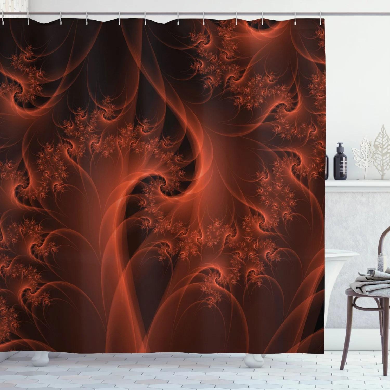 burnt orange shower curtain digital fractal image with swirling turning moving floral lines modern graphic fabric bathroom set with hooks orange