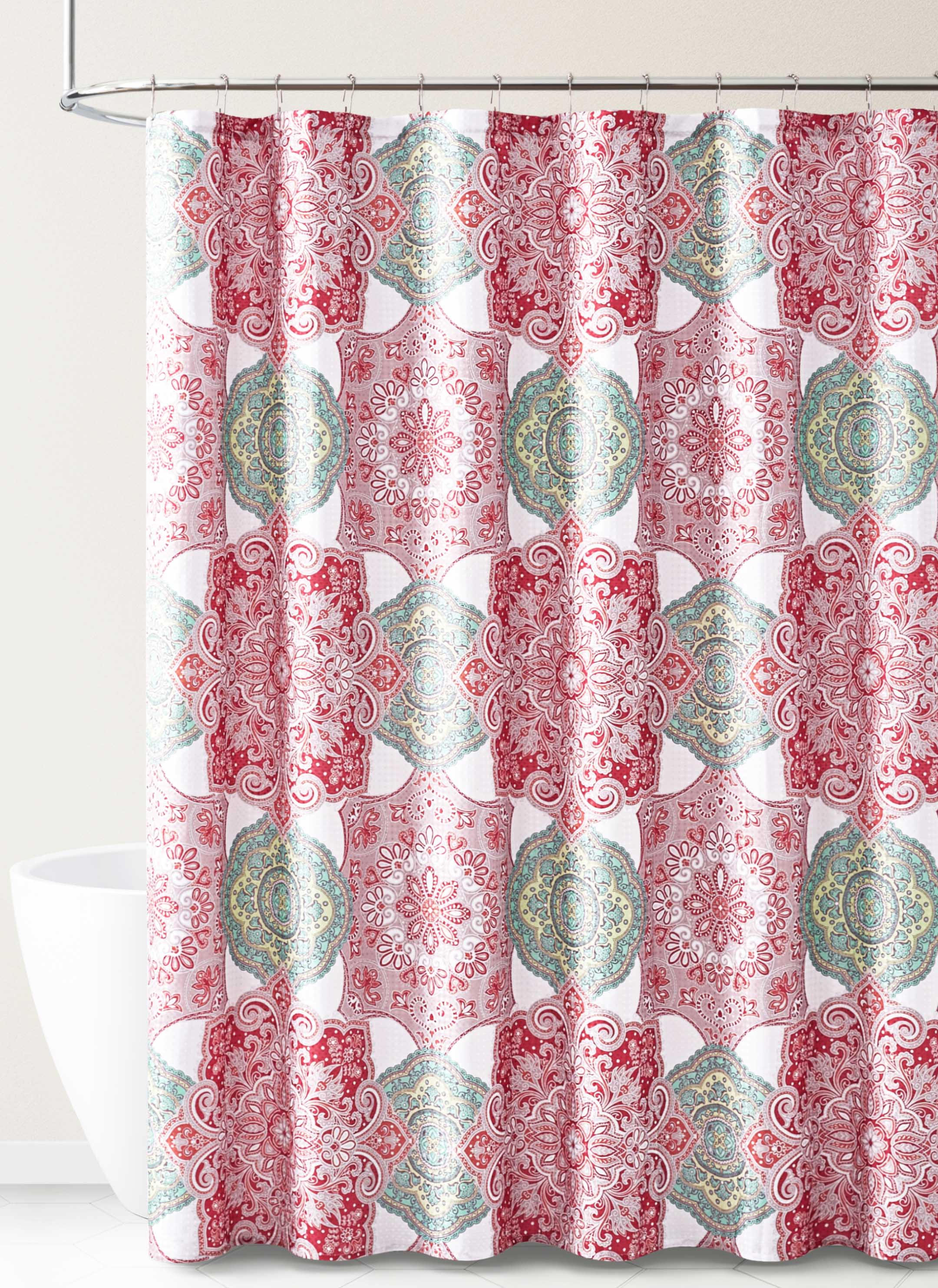 fabric shower curtain for bathroom white teal coral taupe with medallion design 72in x72 incoral walmart com