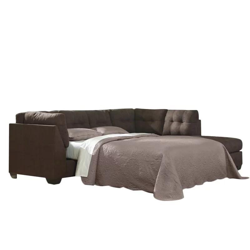 ashley maier 2 piece right fabric chaise sleeper sectional in walnut walmart com