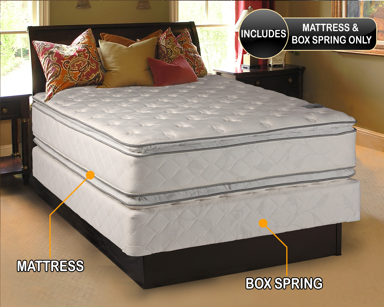 dream solutions pillow top mattress and box spring set full 54 x75 x12 double sided sleep system with enhanced cushion support fully assembled