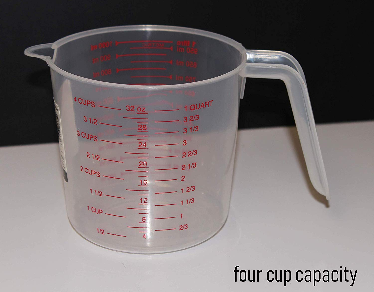 Clear Plastic Measuring Cup 4 Cup Capacity For Measuring