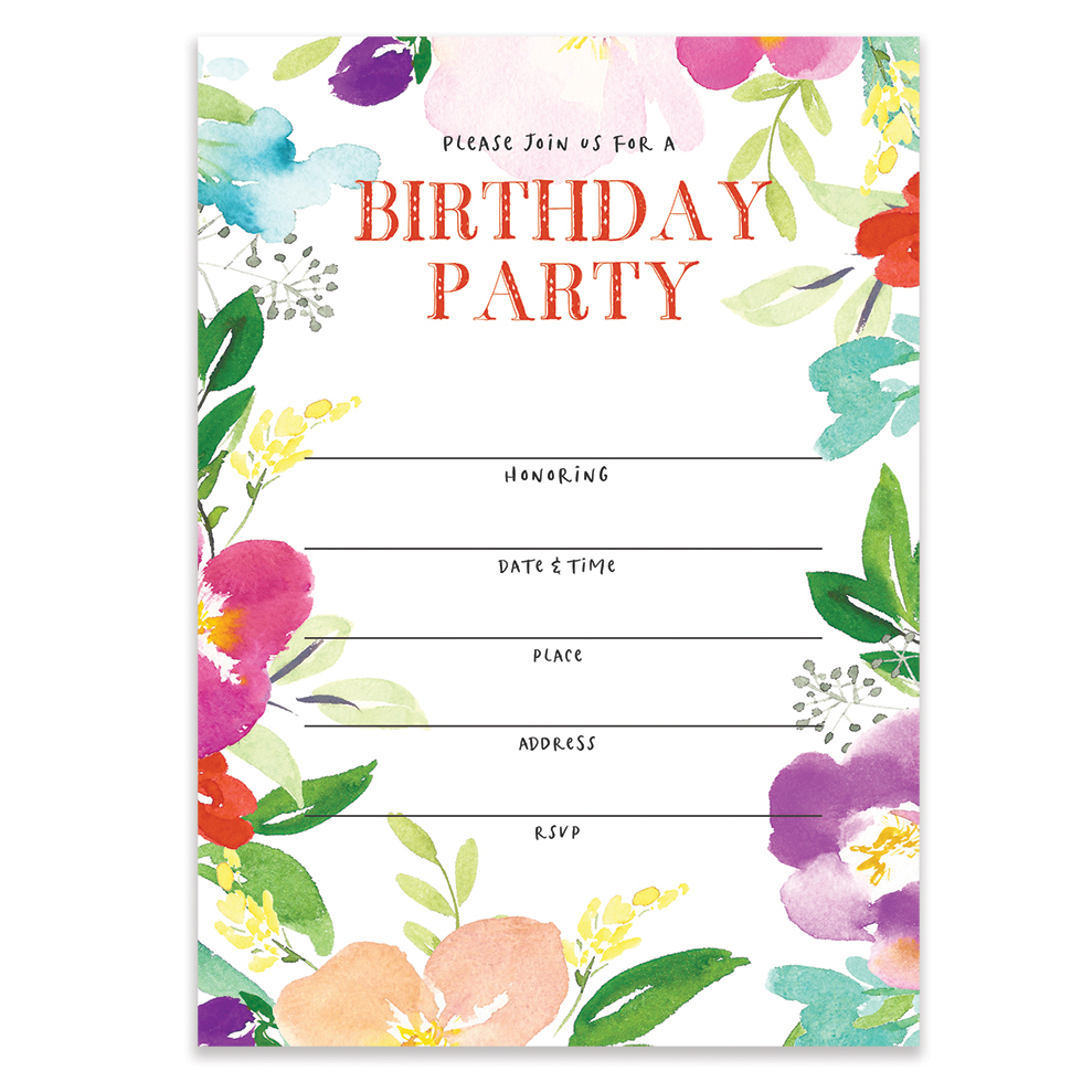 colorful floral birthday party invitations with envelopes pack of 25 large 5x7 fill in blank sweet 16 21st first bday surprise parties girl child