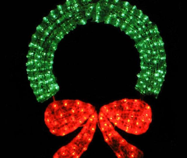 Commercial Sized Lighted Crystal  D Outdoor Christmas Wreath Decoration