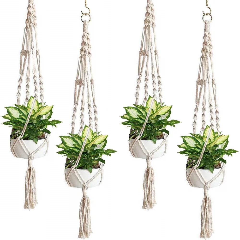 Sorbus Macrame Plant Hanger Indoor Outdoor Hanging Plant ... on Hanging Plant Pots Indoor  id=13457