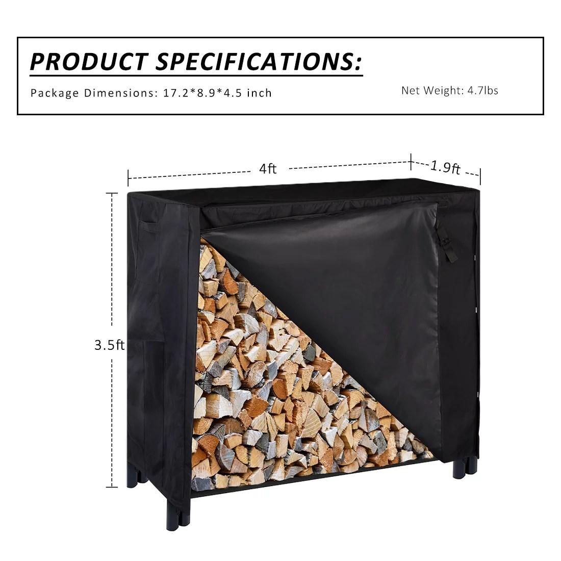 heavy duty waterproof outdoor firewood storage log rack cover with zipper 4 feet walmart com