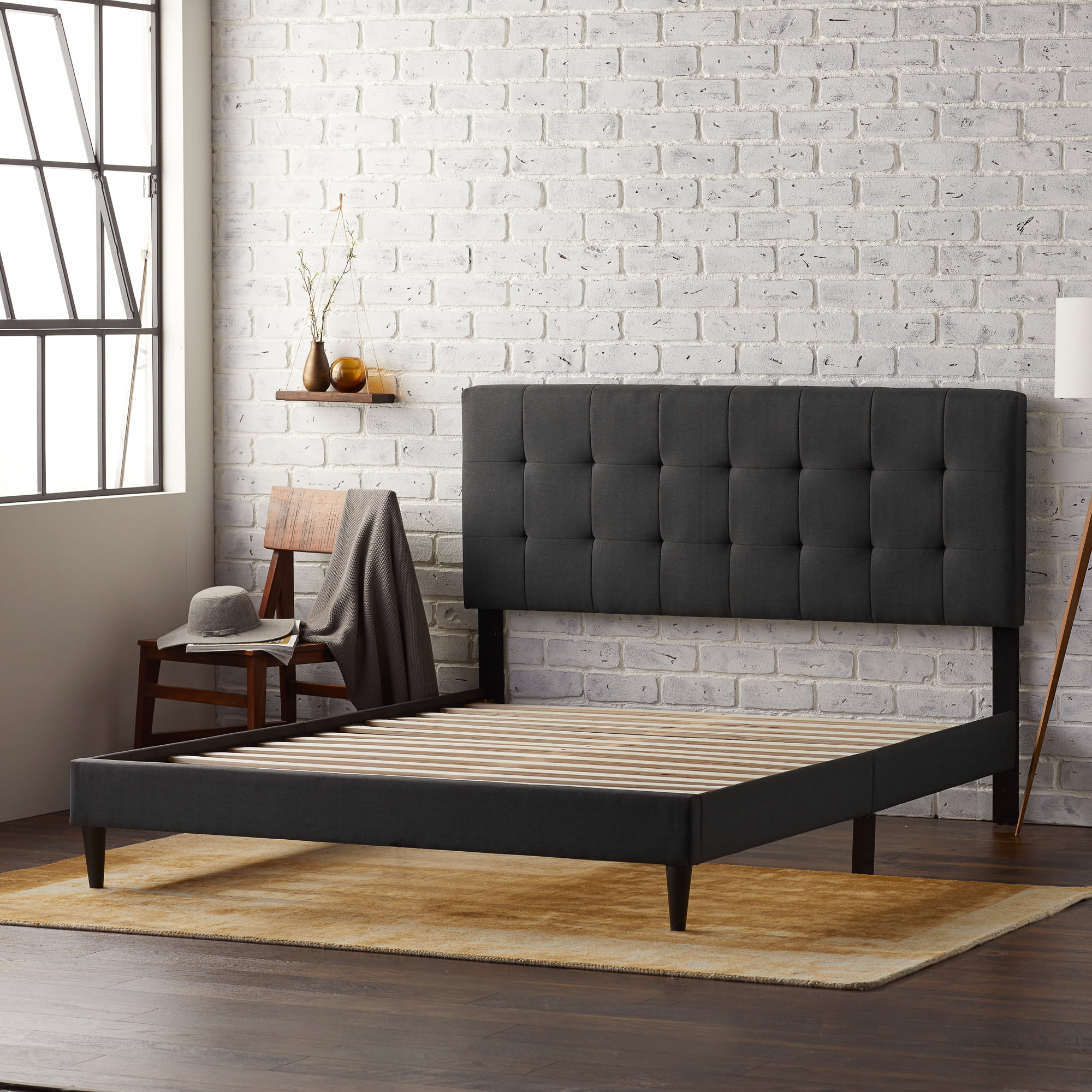 rest haven upholstered platform bed frame with square tufted headboard queen charcoal