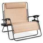 Best Choice Products 2 Person Double Wide Outdoor Folding Zero Gravity Chair Patio Lounger W Cup Holders Beige Walmart Com Walmart Com