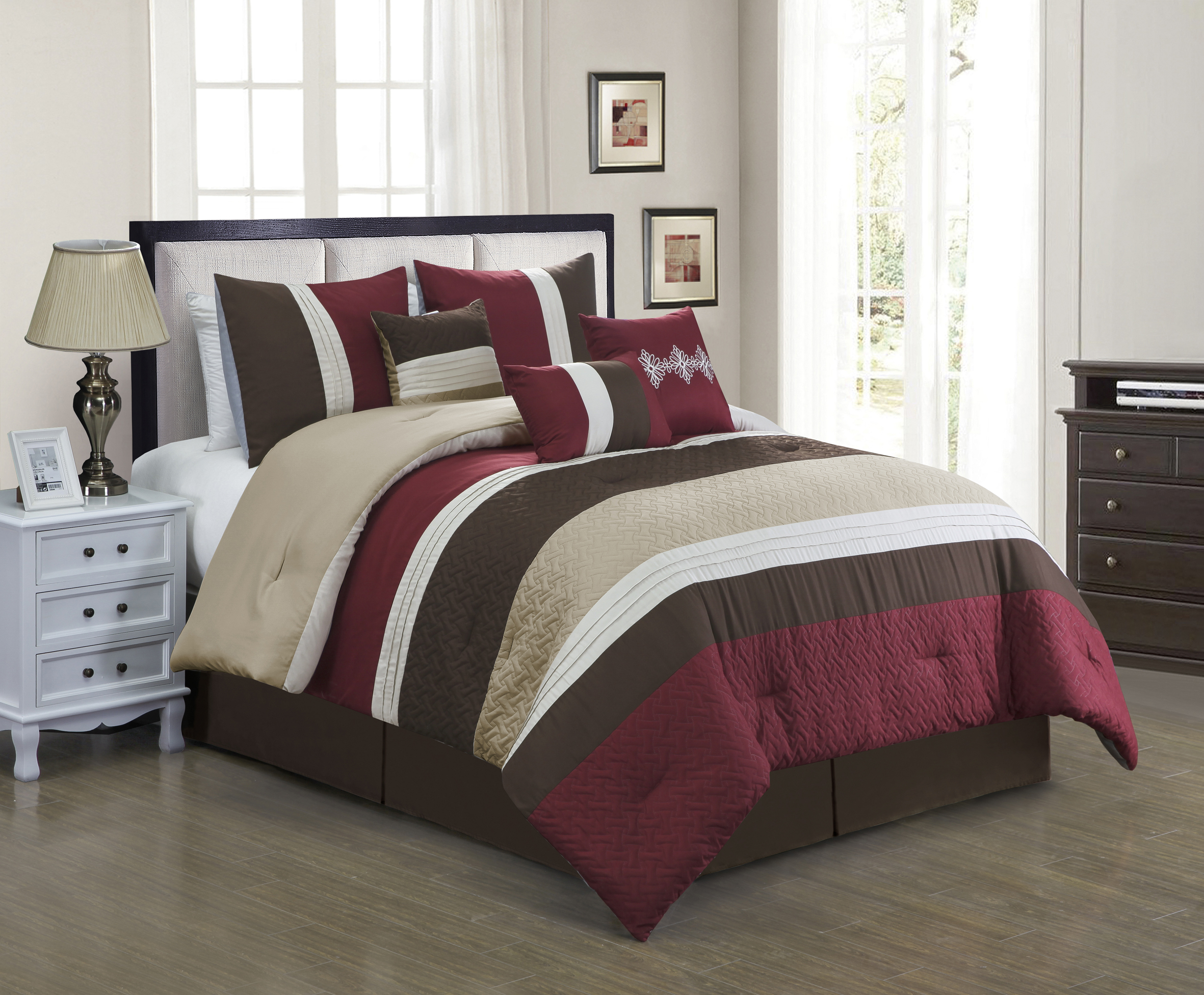 unique home vienna 7 piece collection comforter set stripe on walmart bedroom furniture clearance id=35214