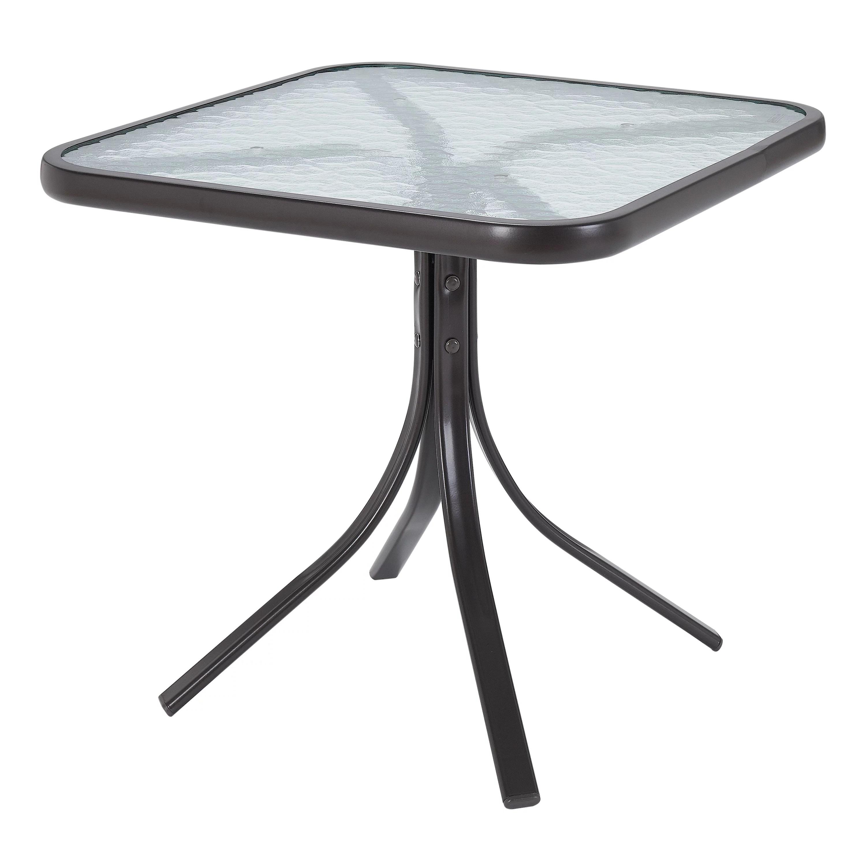 mainstays square glass patio table 20 x 20 dark brown finish walmart com