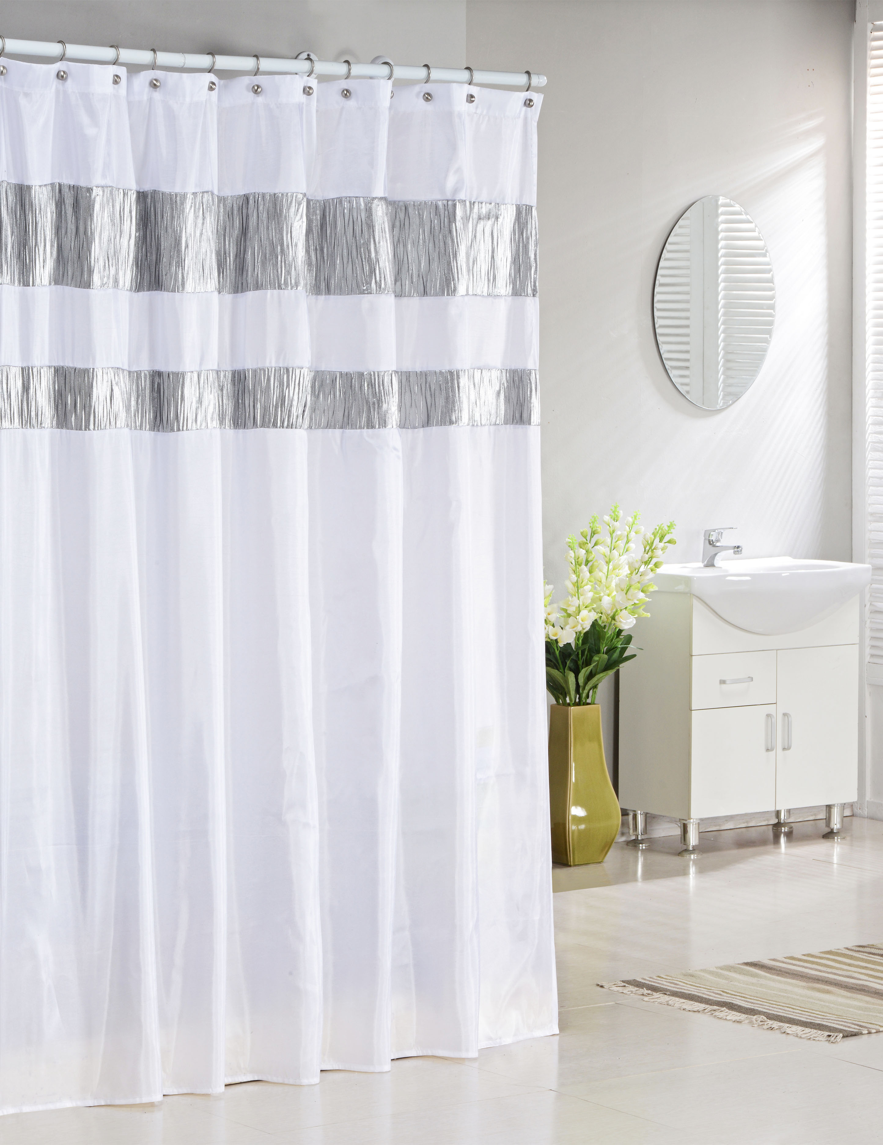 bathroom and more collection pure white fabric shower curtain with silver metallic accent stripes 72 w x 72 l standard