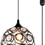 Plug In Crystal Pendant Light Black Metal Little Chandelier Light With 13 12ft Cord And On Off Switch Vintage Hanging Light Fixture Ceiling Lamp For Kitchen Bedroom Walmart Canada