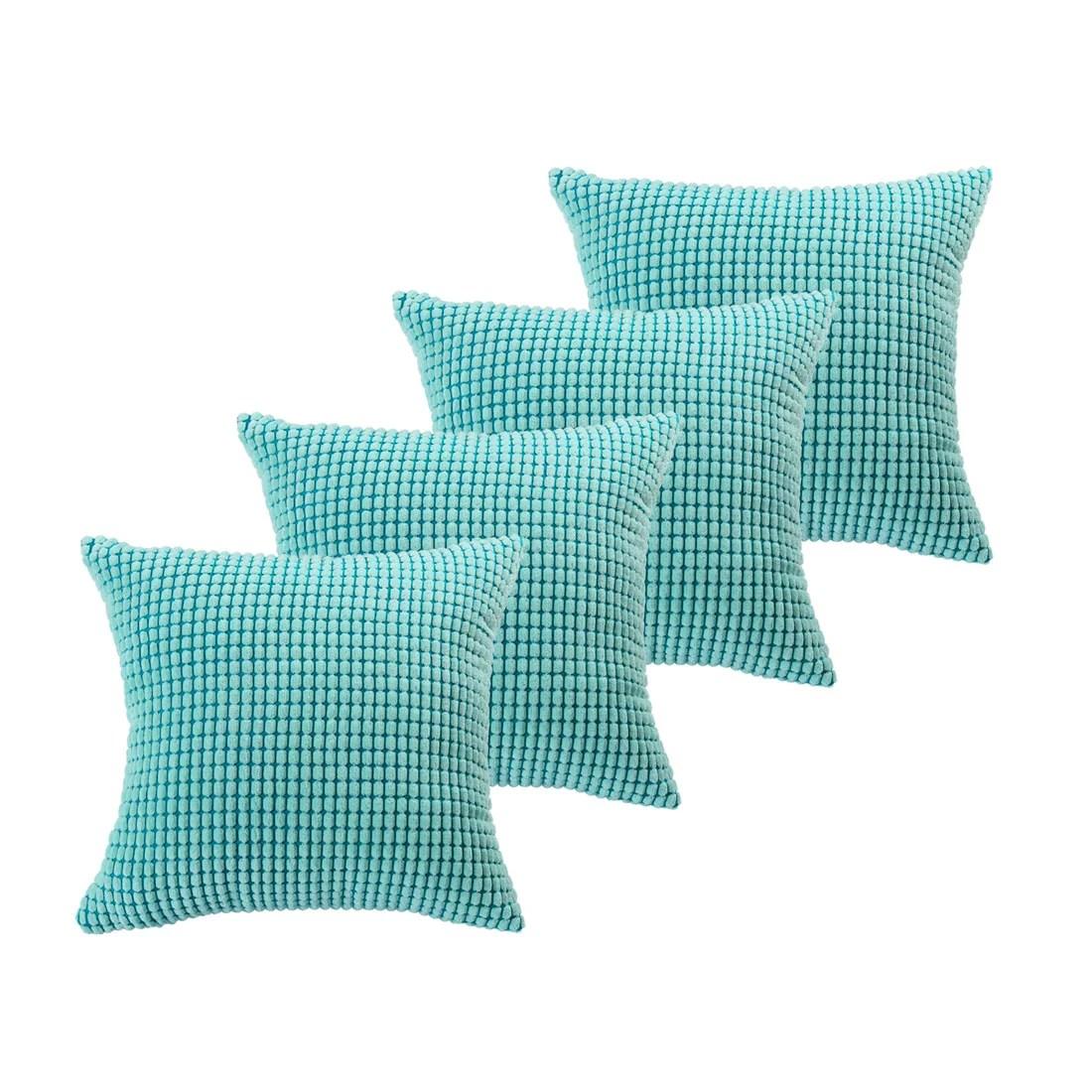 unique bargains 4 pcs decoratiove throw cushion pillow covers light blue 18 x18
