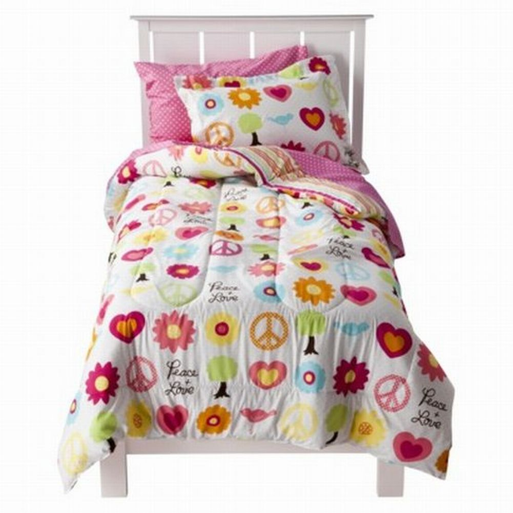 Circo Full Bed In A Bag Peace Sign Girl Comforter Set