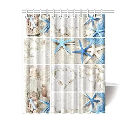 artjia sea theme sandy beach shower curtain wooden starfish seashells polyester fabric shower curtain bathroom sets 60x72 inches