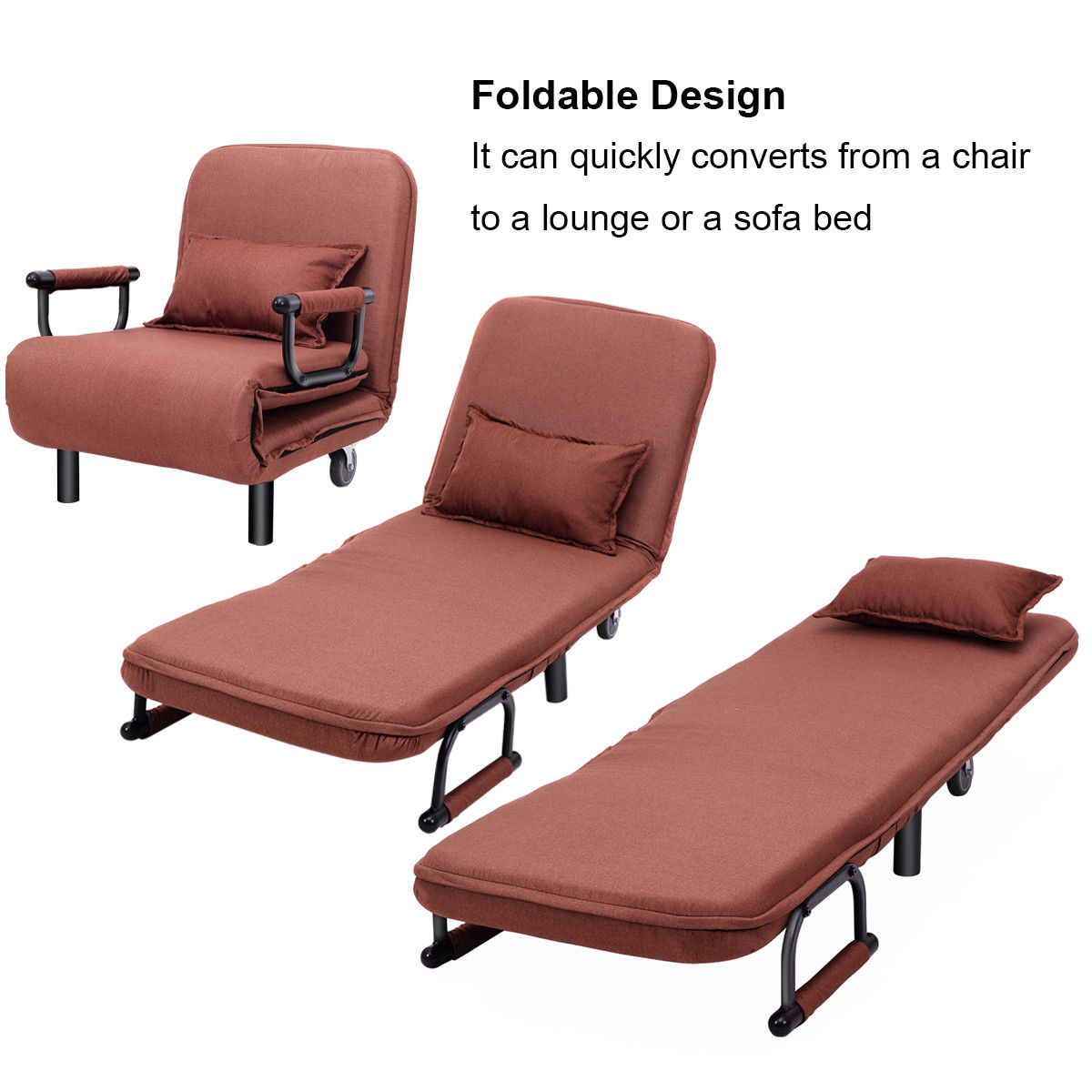 26 5 Quot 5 Reclining Positions Folding Single Sofa Bed