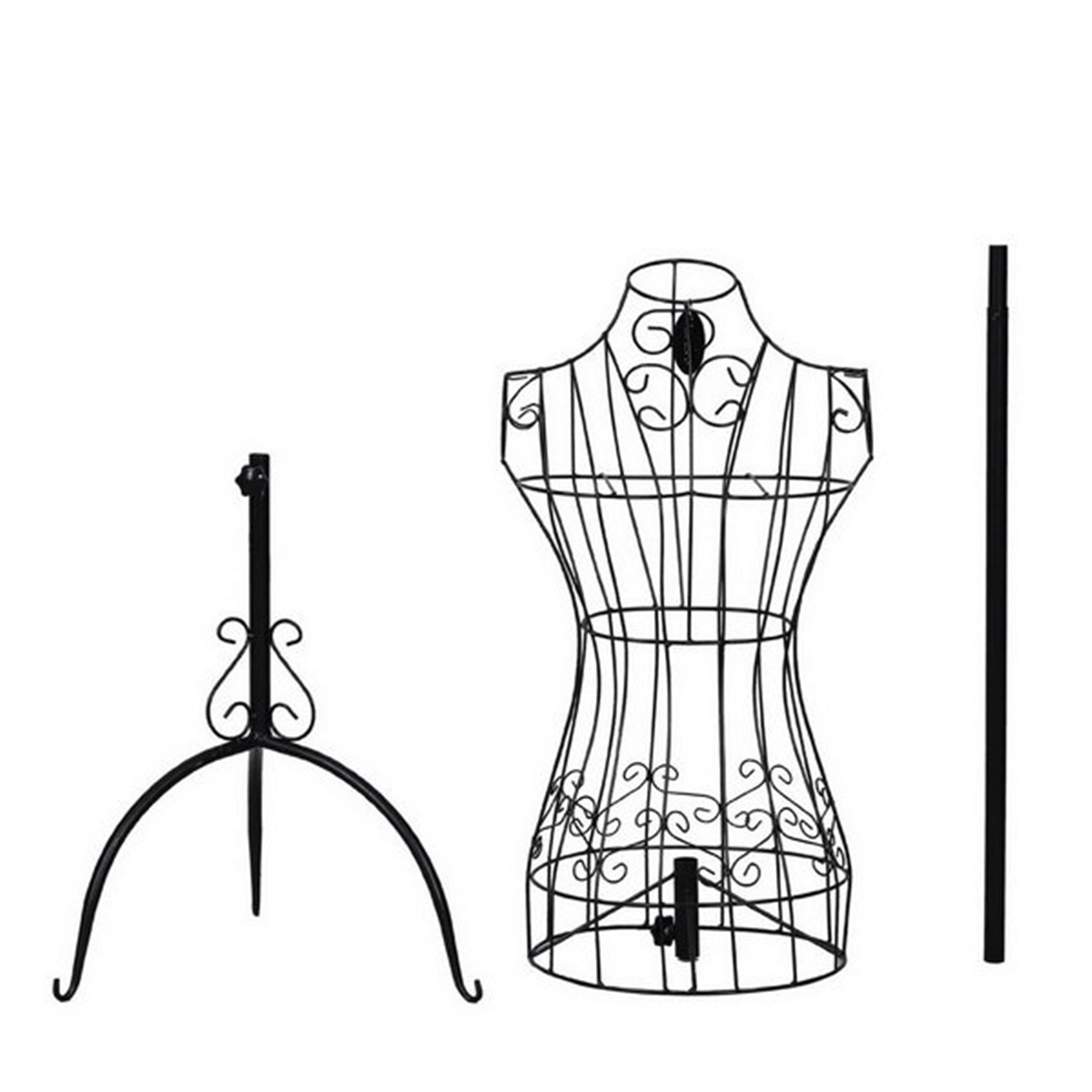 Black Metal Adjustable Height Wire Frame Dress Form Display Stand Mannequin Woman
