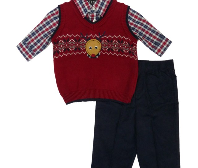 Tfw Infant Toddler Boy Reindeer Sweater Vest  Piece Holiday Dress Up Outfit
