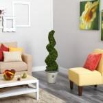 52 Spiral Hazel Leaf Artificial Topiary Tree In Decorative Planter Uv Resistant Indoor Outdoor Walmart Com Walmart Com