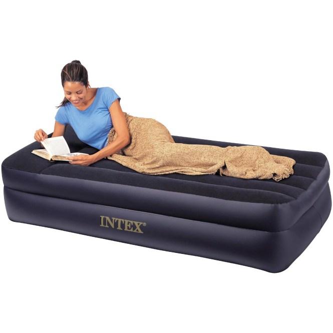Intex Deluxe Twin Pillow Rest Raised Soft Flocked Air Mattress Pump 67731e
