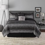 Mainstays 7 Piece Ombre Metallic Stripe Comforter Set King Black And Silver Walmart Com Walmart Com