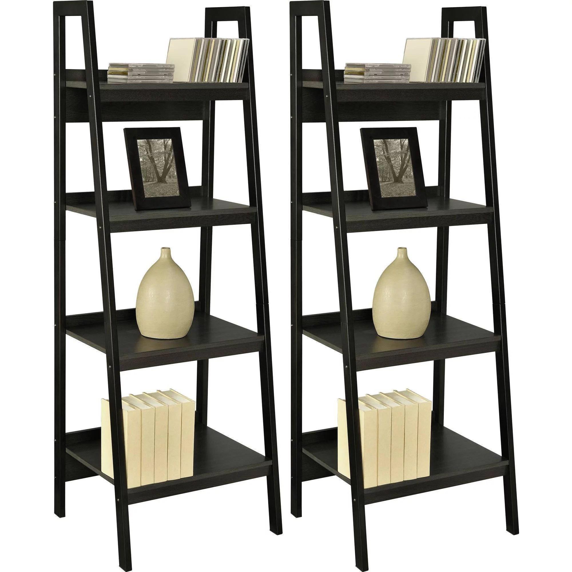 Details About Altra Metal Ladder Bookcase Set Of 2 Black Shelves Shelf Decor Furniture Books