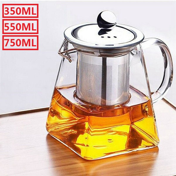 safe tea kettle tea strainer glass teapot with infuser set removable stainless steel strainer microwave dishwasher safe blooming loose leaf tea