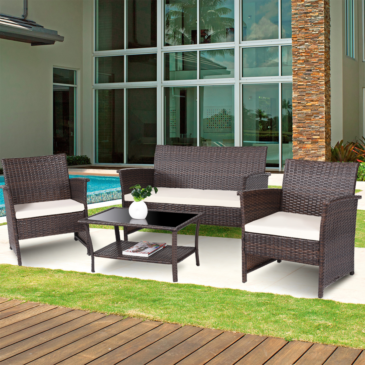 Costway 4 PCS Outdoor Patio Rattan Furniture Set Rattan ... on Outdoor Loveseat Sets  id=76114