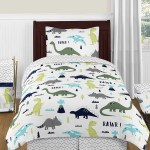Sweet Jojo Designs 4 Piece Navy Blue And Green Modern Dinosaur Boys Or Girls Kids Teen Twin Bedding Set Collection Walmart Com Walmart Com
