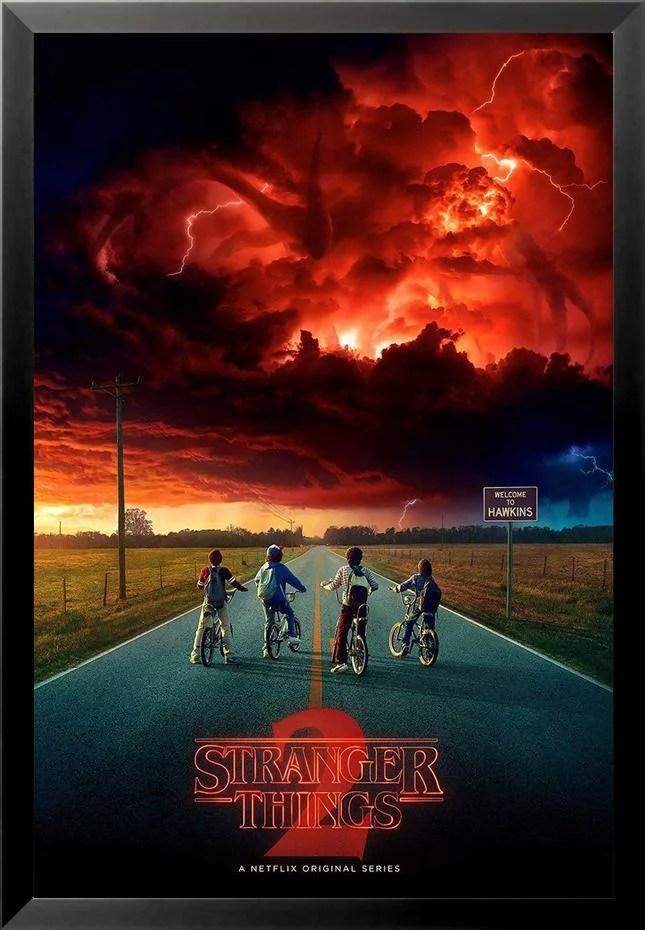 buyartforless framed stranger things season 2 tv show red sky bikes 36x24 art print poster walmart com
