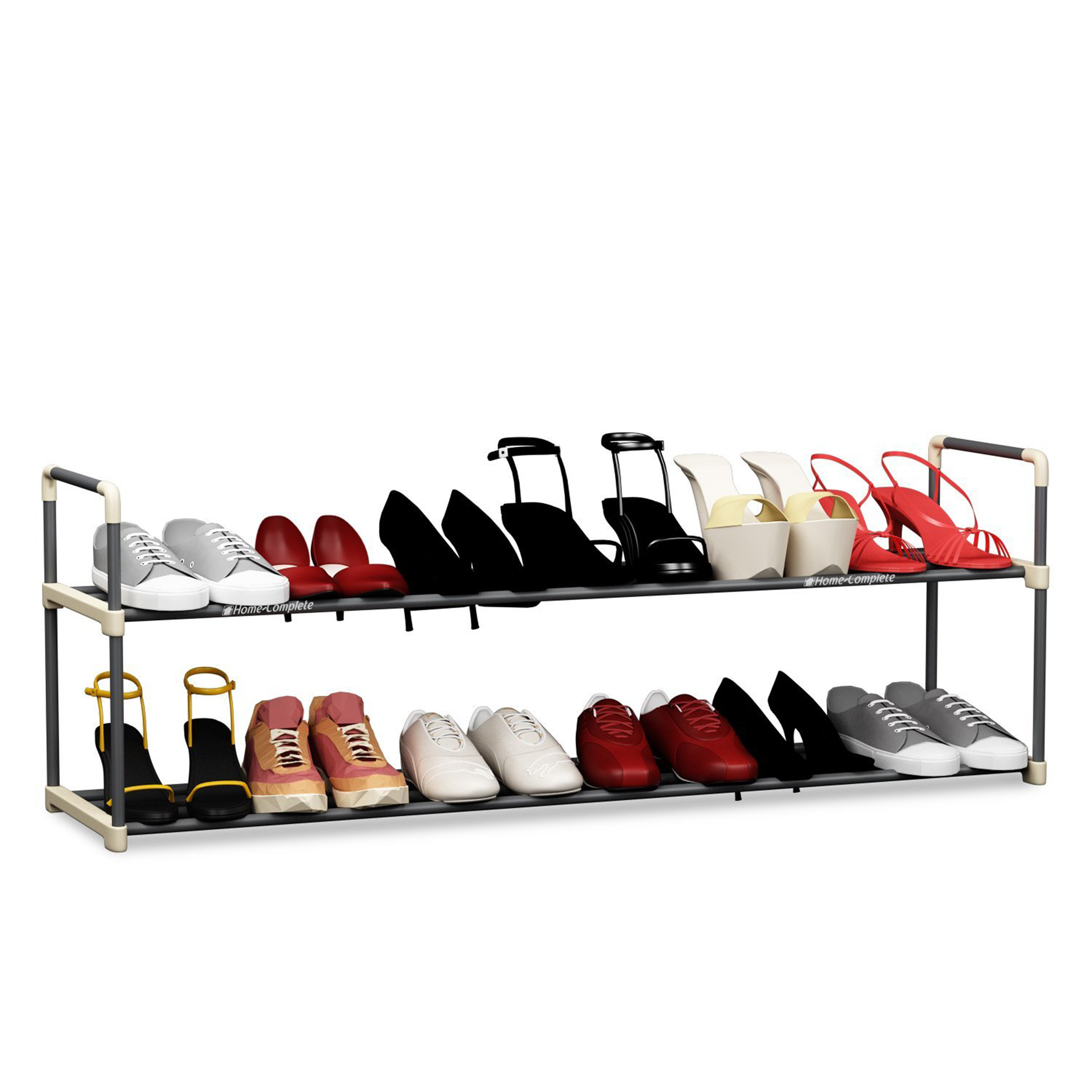 shoe rack with 2 shelves hold 12 pairs by home complete walmart com