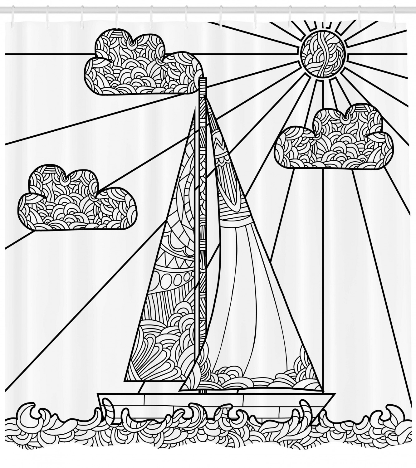 Nautical Shower Curtain Doodle Boat Floating On Waves
