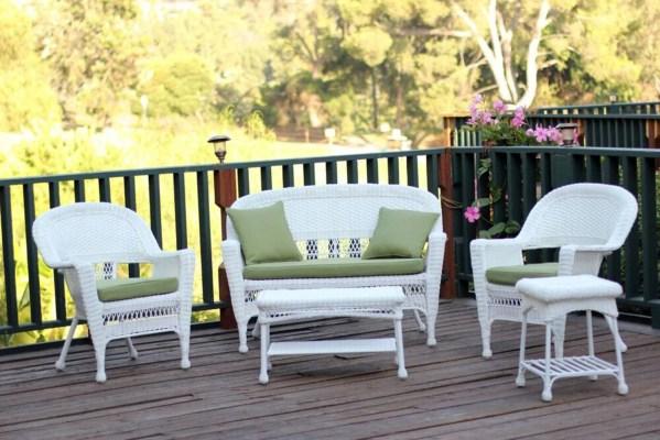 white wicker patio furniture 4-Piece White Resin Wicker Patio Furniture Set - Loveseat