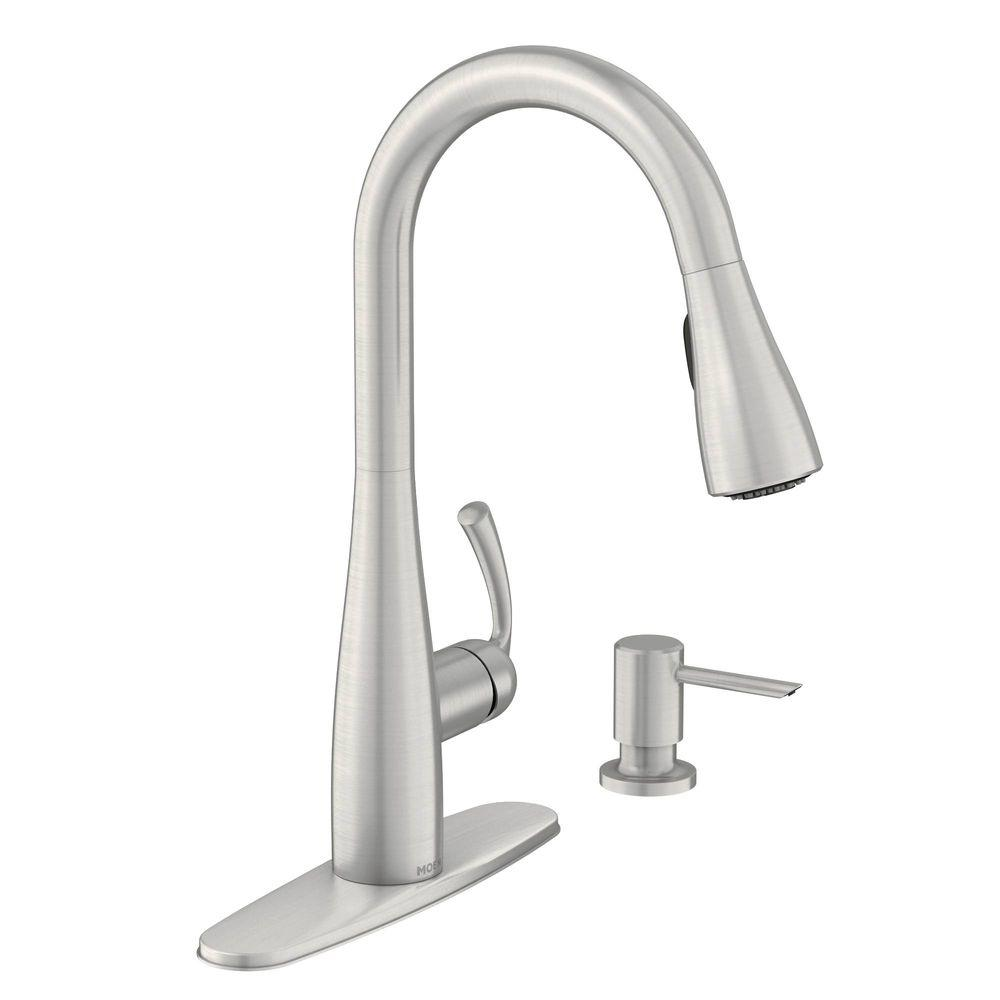 moen essie single handle pull down sprayer kitchen faucet with reflex and power clean spot resistant stainless new open box walmart com