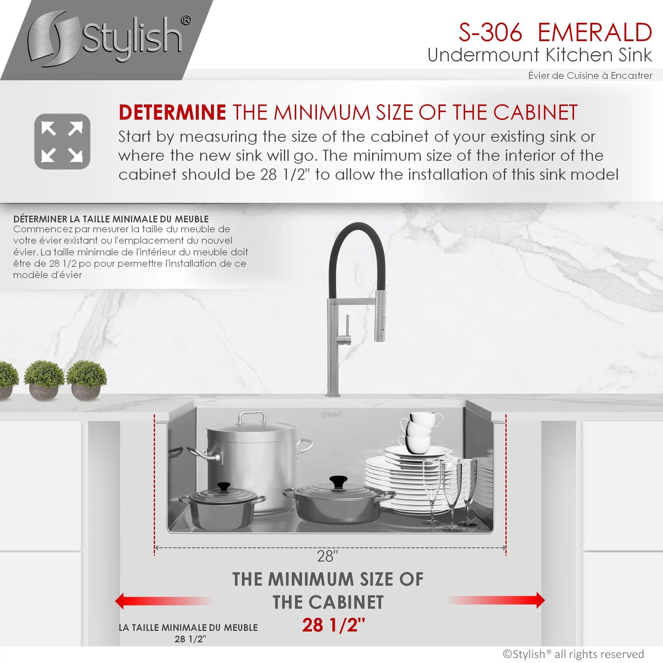 stylish 28 inch single bowl undermount stainless steel kitchen sink