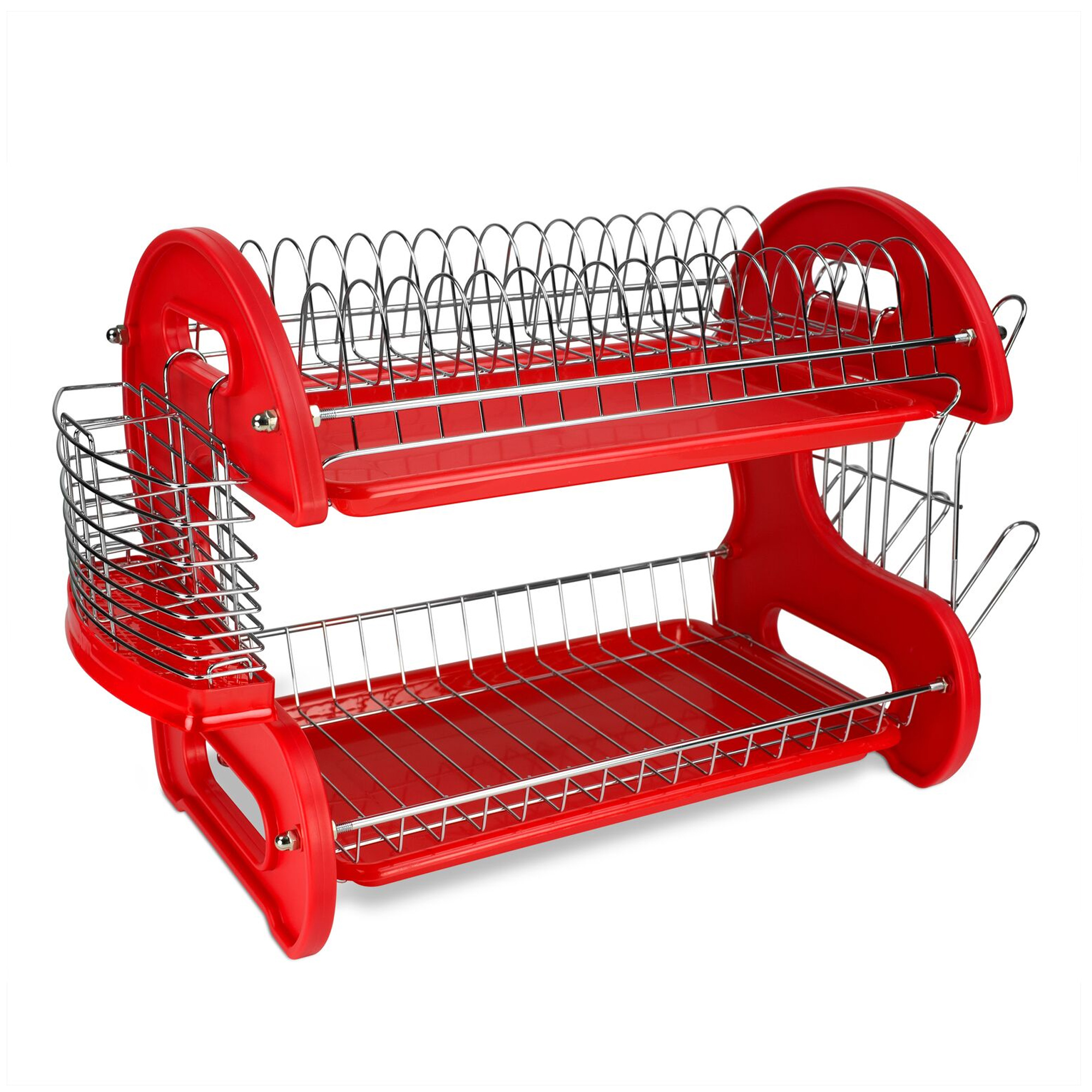 2 tier dish drainer red