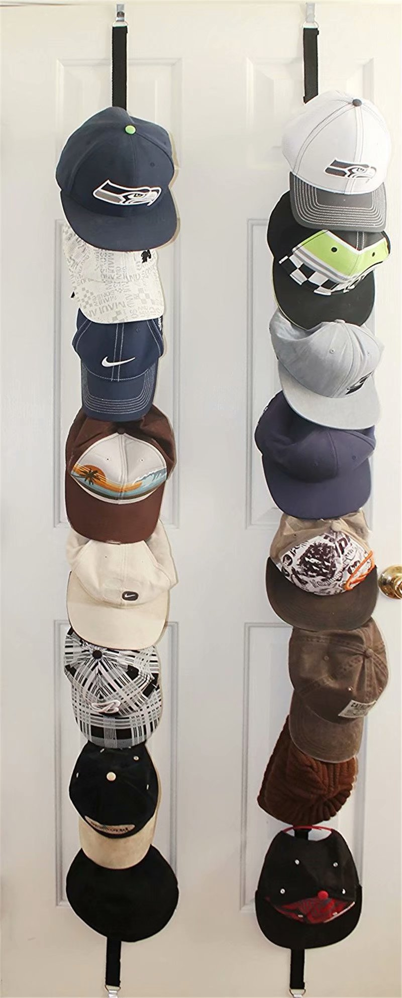 cap rack 2 pack holds up to 16 caps for baseball hats ball caps best over door closet organizer for men boy or women hat collections display