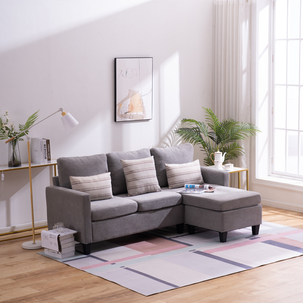 winado reversible sectional sofa couch couch with modern cotton light grey