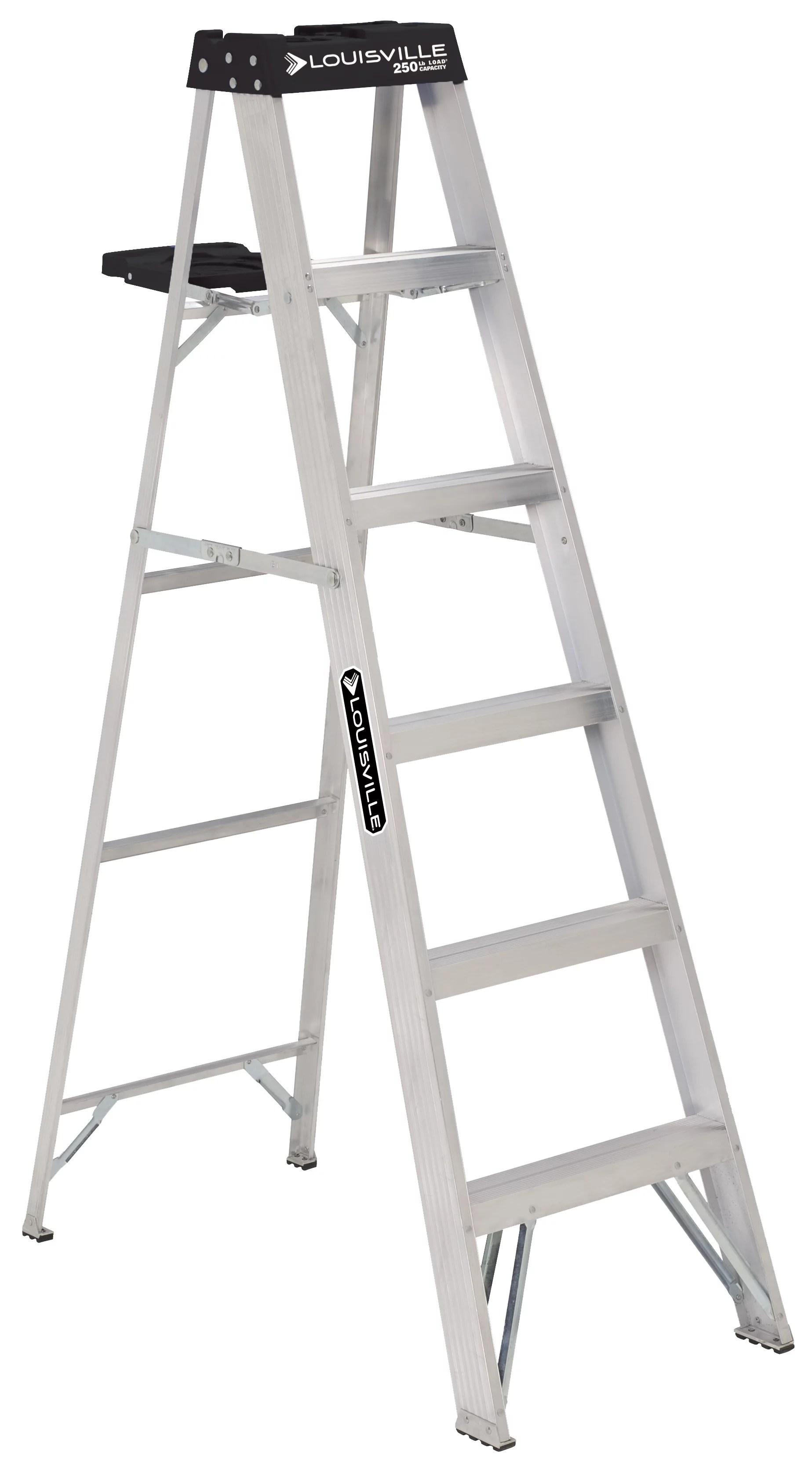 Louisville Ladder 6 Ft. Aluminum Stepladder, 250-Pound Capacity, Type I, W-2112-06S