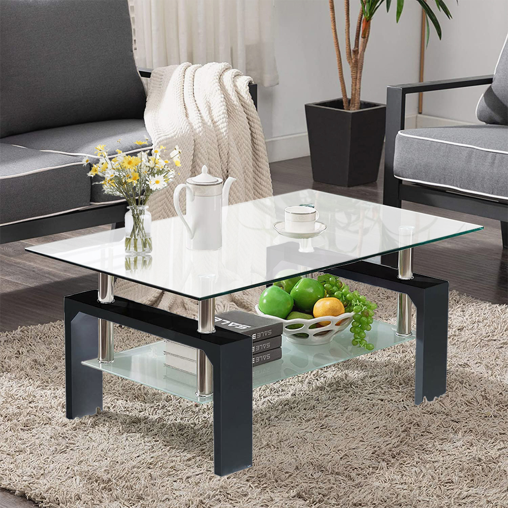 2 tier glass coffee table rectangle open shelf coffee accent table living room table with glass shelf large storage space cocktail table center