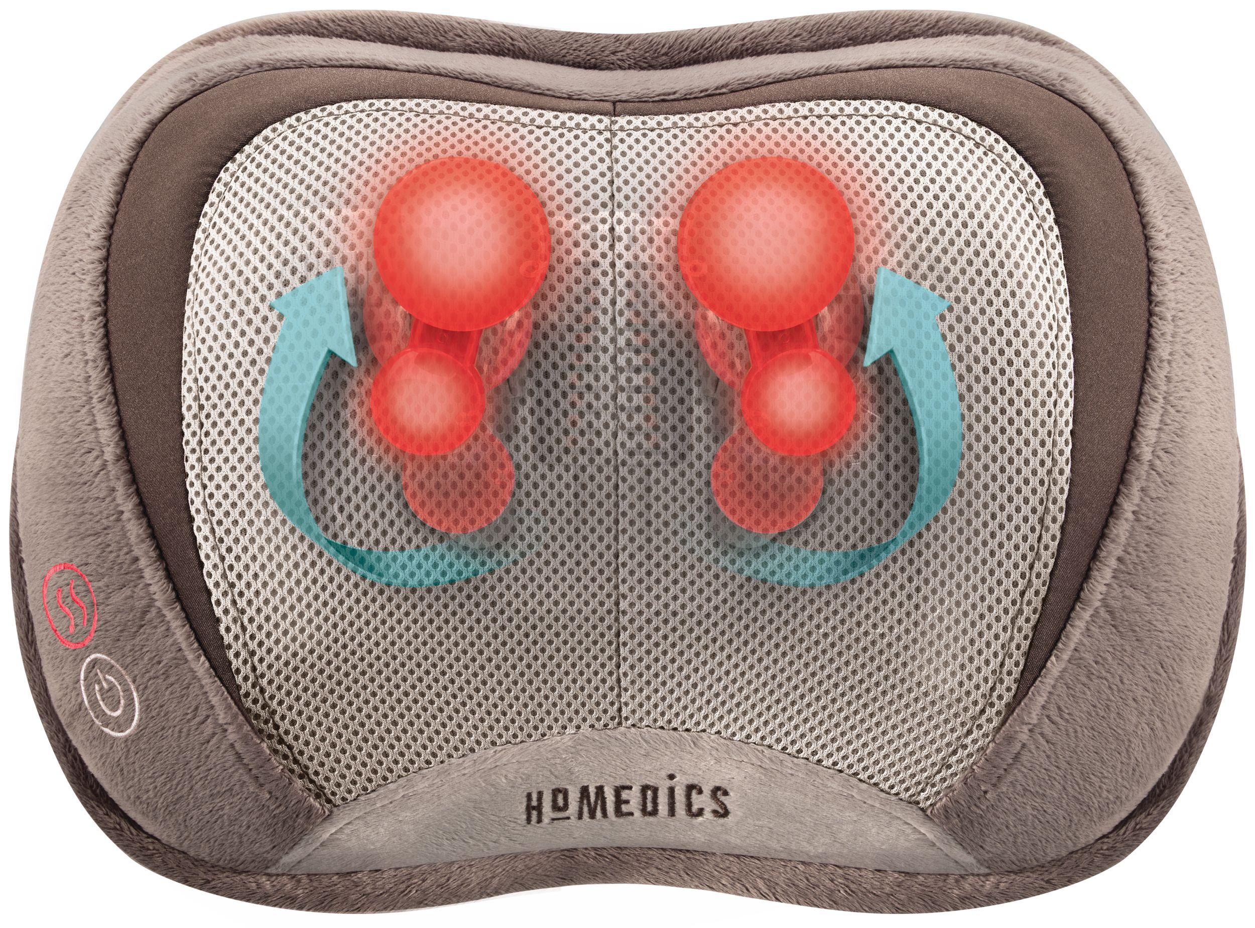 homedics 3d shiatsu and vibration massage pillow with heat deep kneading spherical node rollers ultra modern 3d technology for neck shoulders or