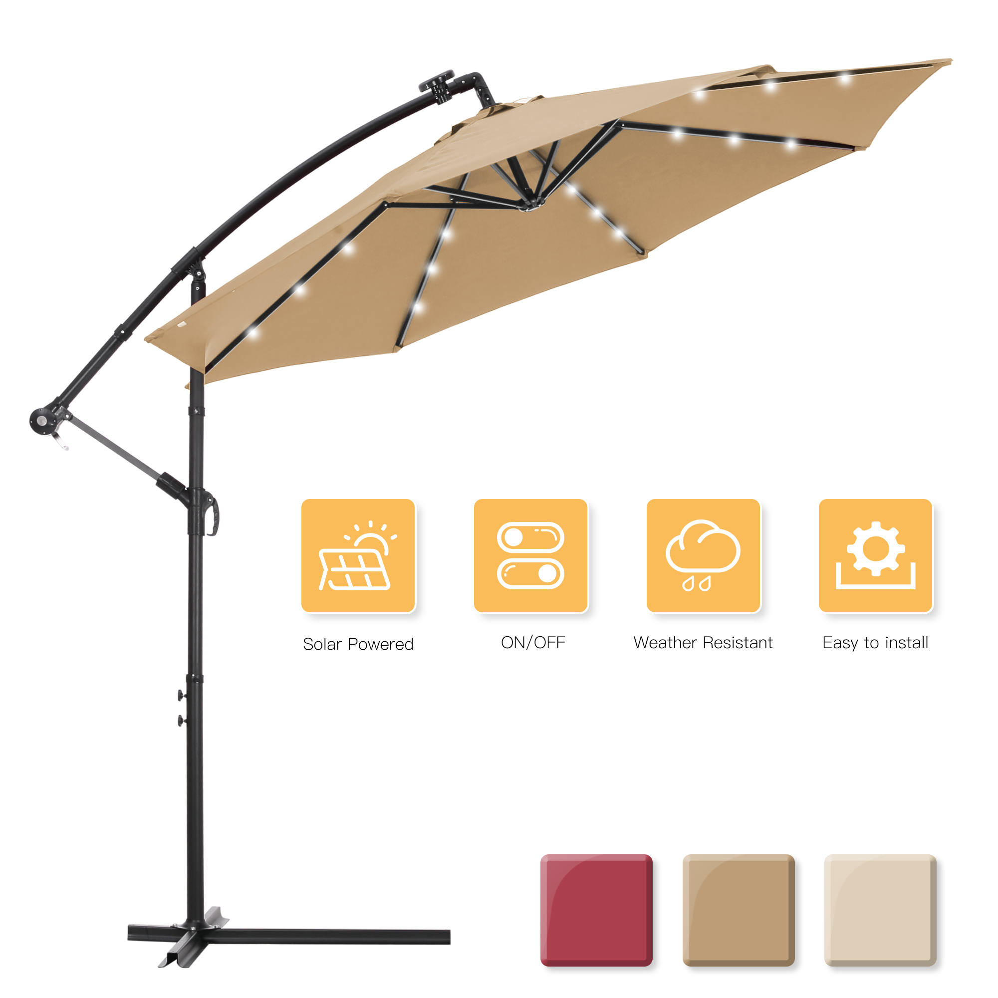 10 ft solar powered led patio outdoor umbrella offset umbrella cantilever umbrella hanging market umbrella outdoor umbrellas with crank cross bases