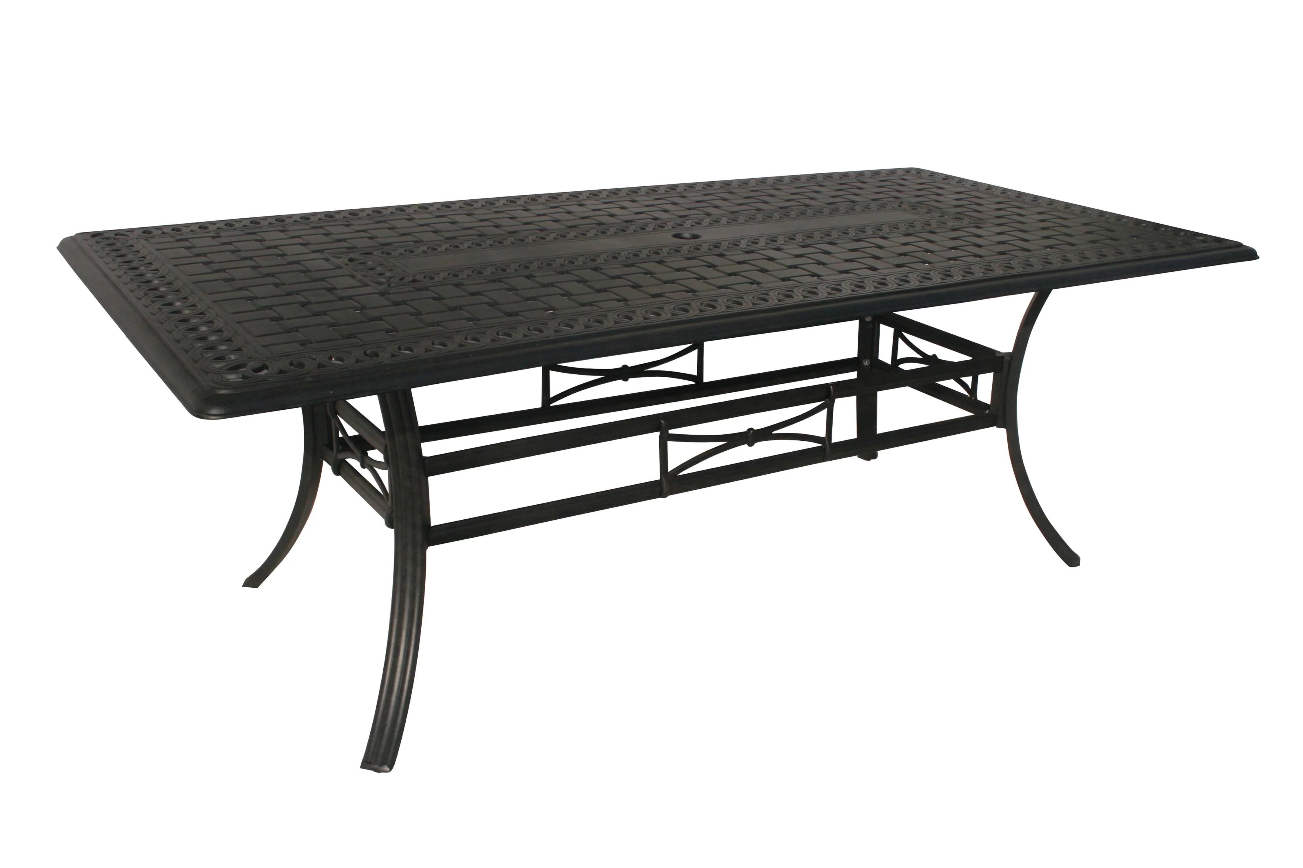 84 jet black rectangular aluminum outdoor patio dining table w umbrella hole walmart com